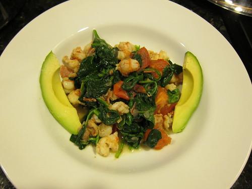 spinach, shrimp, avocado IMG_5456