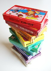 Stack of Famicom games