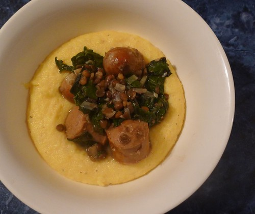 bri eats.: Sausage, lentil and silverbeet casserole with polenta