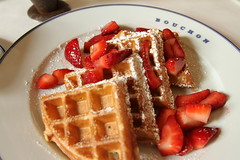 meal(0.0), breakfast(1.0), strawberry(1.0), belgian waffle(1.0), produce(1.0), fruit(1.0), food(1.0), dish(1.0), waffle(1.0),