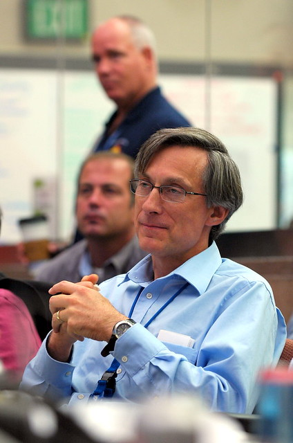 Charles McMillan, director of Los Alamos National Laboratory, during a briefing at the Lab's Emergency Operations Center.  Periodiclaly throughout an emergency, representatives of key functions update each other on status.    Photo by Jeff Berger