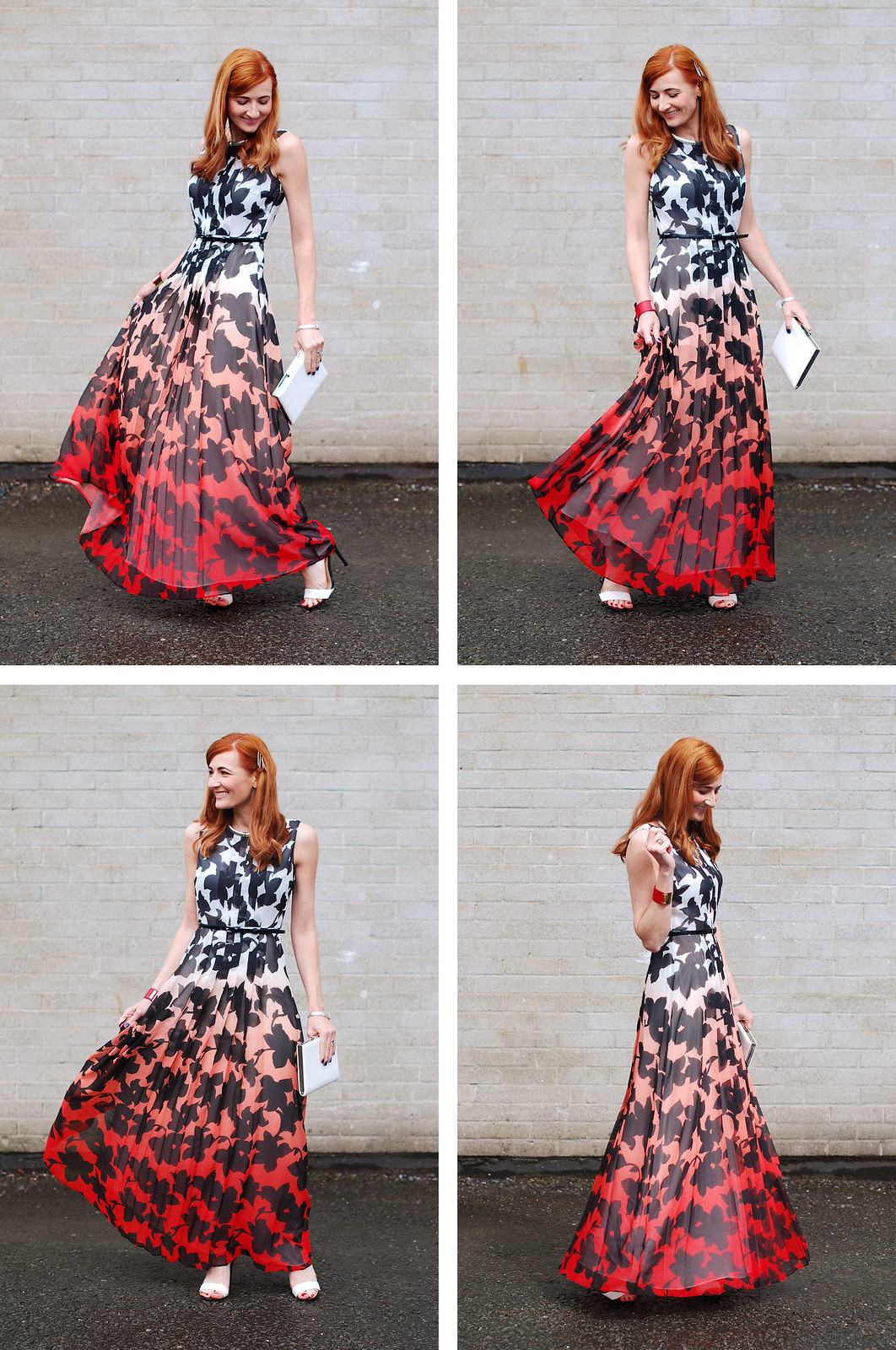 Red, black & white ombre patterned dress