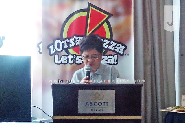 THE MATRIARCH. Teresita Ngan Tan speaks during the first Bloggers Event for Lot's A Pizza.