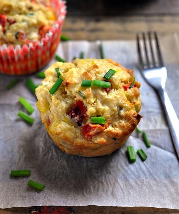 Quinoa Flakes, Feta, Roasted Capsicum & Corn Savoury Muffins | www.fussfreecooking.com