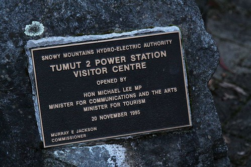 Tumut 2 Power Station visitors centre opening plaque