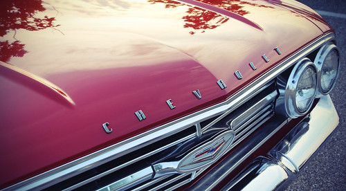 sunset red chevrolet chrome impala