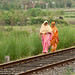 Bangladeshi Women Walking on Railroad Tracks - Khulna to Rajshahi, Bangladesh