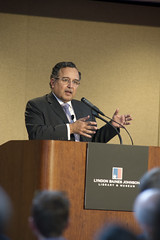 Former Egyptian Ambassador to the United States, Nabil Fahmy, shares his unique insights into the global implications of the Arab Spring in a talk at the LBJ Library in Austin.  Fahmy was introduced by LBj School Dean Robert Hutchings.