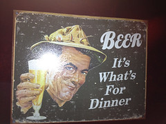 "Bathroom sign, Men's Room says ""Beer, it's what's for dinner!"""