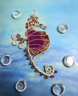 Purple Agate Slice Wire Wrapped Seahorse Pendant
