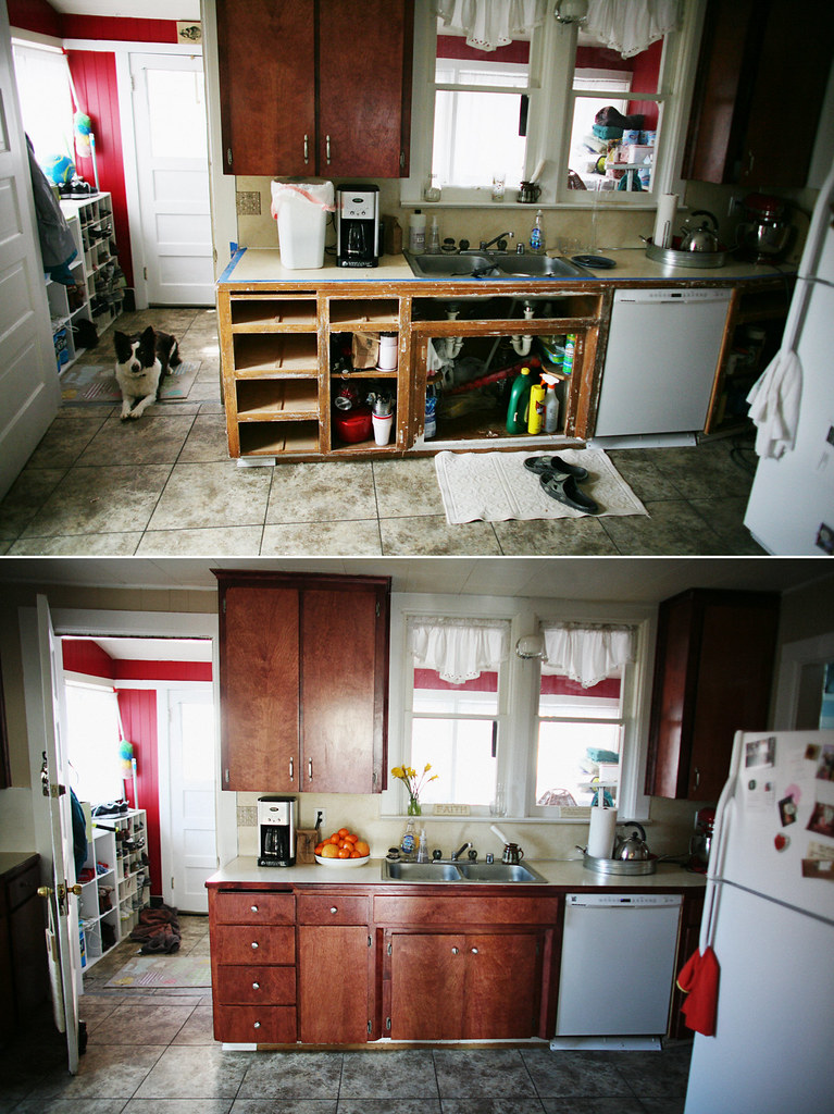kitchen cabinet refinishing project