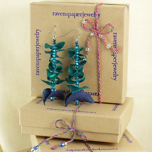 Paper Earrings - Green Spires