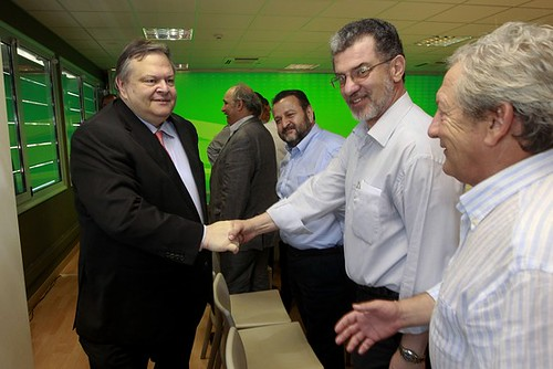 Socialist Pasolk Party head Evangelos Venizelos made a deal with the New Democracy Party to form a government in Greece. The government will continue the austerity program imposed by the banks. by Pan-African News Wire File Photos