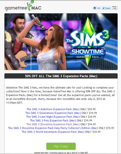 GameTreeMac - 50% Off All Sims 3 Expansion Packs! | SimsVIP
