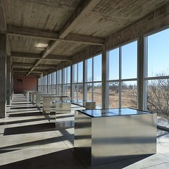 I spent the day at The Chinati Foundation in Marfa, Texas, the highlight of which was this series of 100 aluminum sculptures by Donald Judd. The interplay of light from the space, the surrounding environment, and the sculptures themselves was mesmerising,