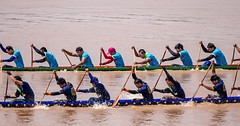 Dragon Boat racing on the Mekong River in Vientiane, Laos #travel #laos #boating