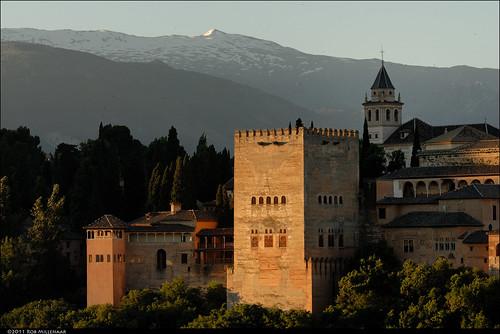 sunrise dawn spain scenery alhambra granada