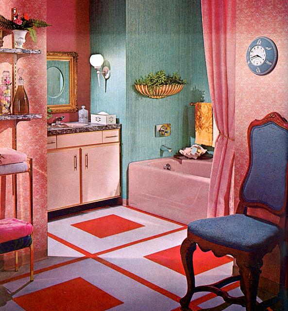 Bathroom 1965 flickr photo sharing for Vintage bathroom wallpaper