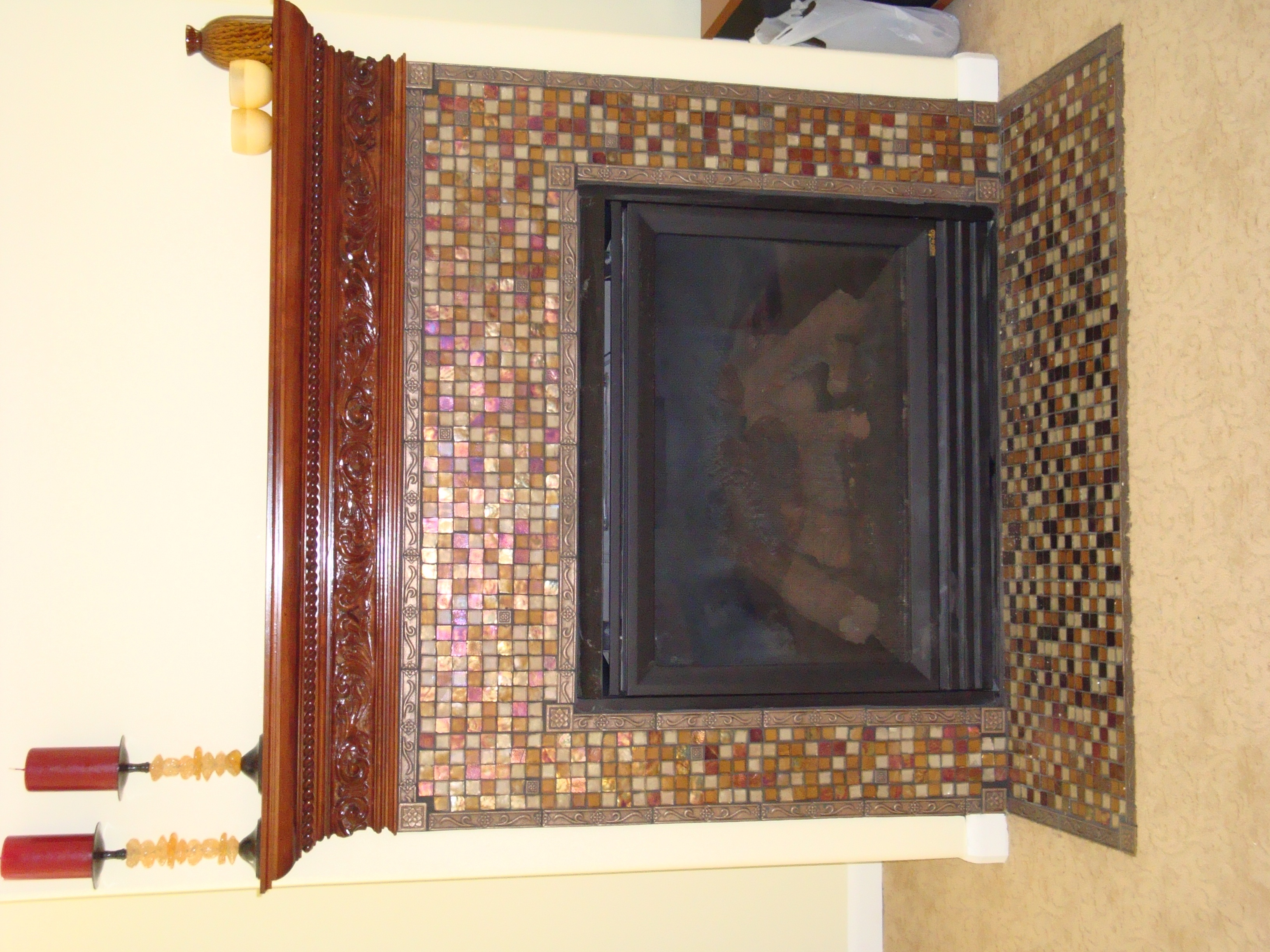 Glass Mosaic Tile Fireplace Surround And Wood Mantel Flickr Photo Sharing