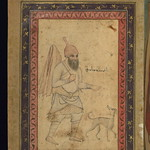 Album of Persian and Indian calligraphy and paintings, A dervish leading a dog, Walters Manuscript W.668, fol.69a