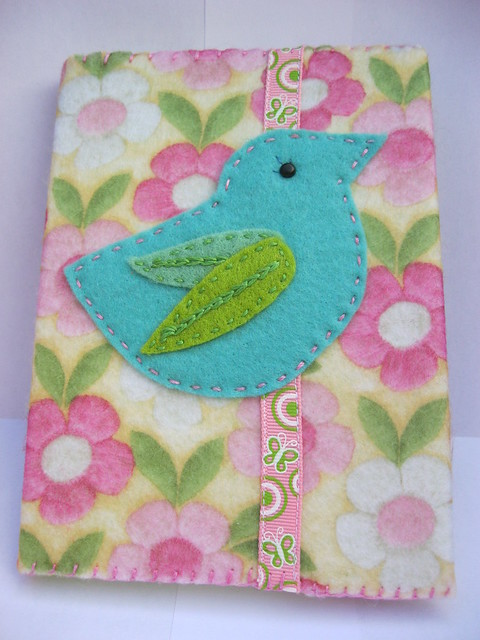 Handmade Felt Book Cover : Felt book cover birdie range flickr photo sharing