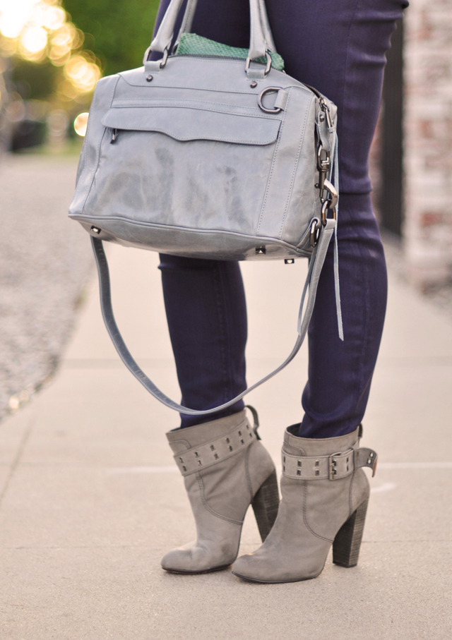 purple jeans-gray boots - blue gray bag