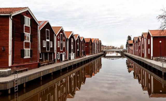 Boat-houses, Hudiksvall, Sweden