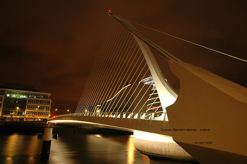 Samuel Beckett Bridge over Liffey River - Dublin