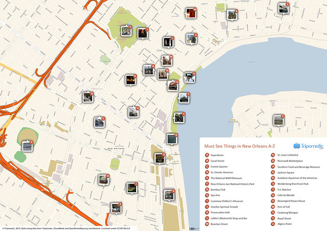 Vibrant image regarding printable map of new orleans