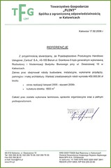 Referencje Towarzystwa Gospodarczego FLINT Sp. z o. o. 2006r.