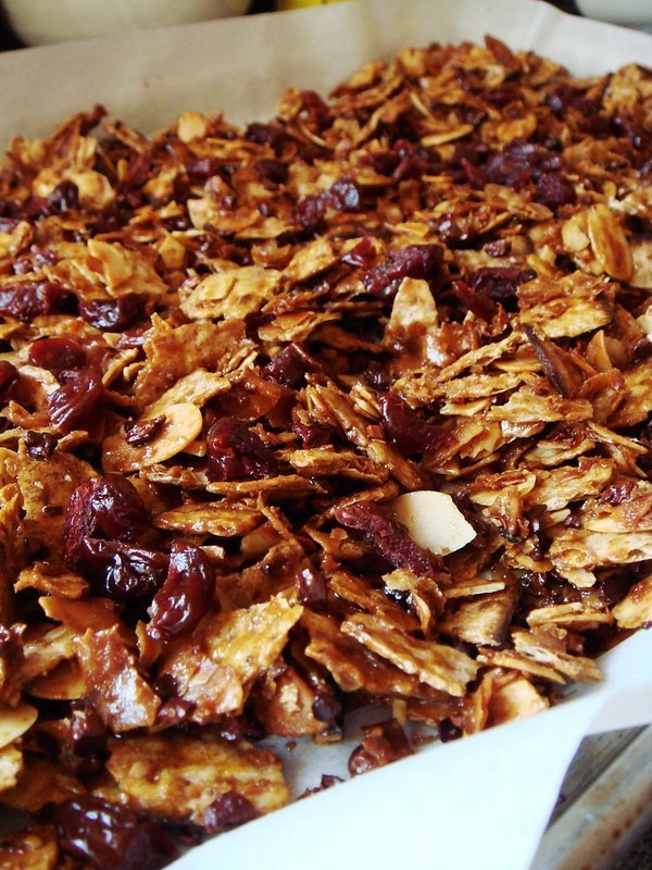 Maple Matzo Granola with Cocoa Nibs, Coconut, Cherries