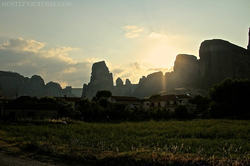 sunrise meadow unesco greece valley meteora