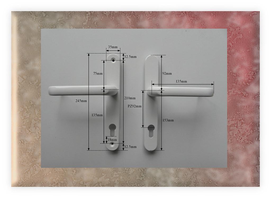 Upvc door handles white extended sprung easy lift pz92mm for Upvc french door handles