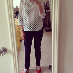 5/22 #mmmay14 @grainlinestudio popover Archer, Michael Kors jeans, and @reebok classics #sewing