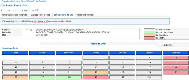 Cita Renta 2013 paso 3 Calendario de Cita