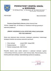 Referencje Powiatowego Zespołu Szkół w Bieruniu 2007r.
