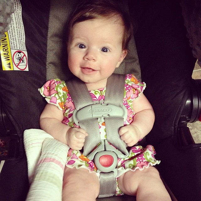 Ready to make some new friends today at daycare. #growinguptoofast #ellieclaire #4months
