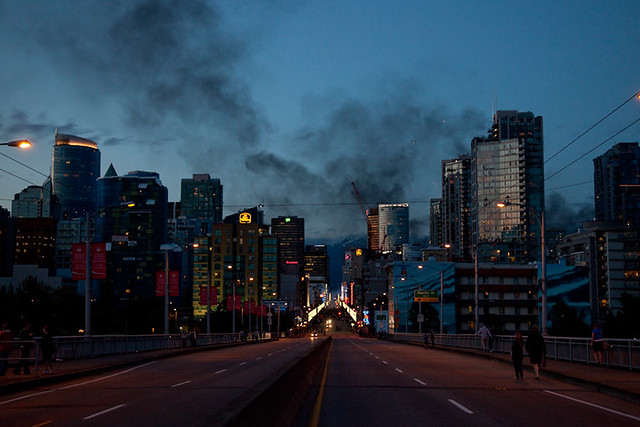 Smoke over Vancouver during riots