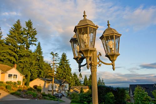 sunset neighborhood lamps