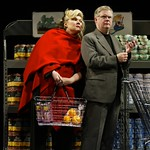 Woman (Tony Award-winning actress Debra Monk), and Man (OBIE Award-winning playwright/actor Christopher Durang)  in the Huntington Theatre Company's production of
