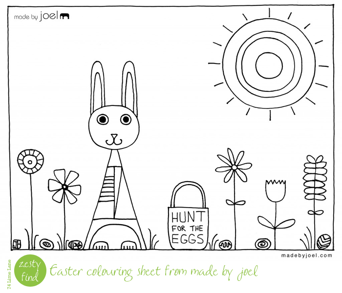 {zesty find} easter colouring fun with made by joel
