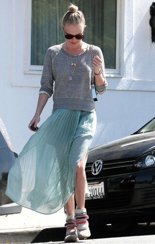 Kate Bosworth Celebrity Style Women's Fashion Wedge Sneakers Maxi Skirt