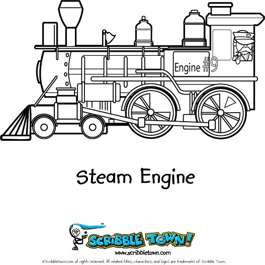 Trains steam engine coloring page color a choo choo for Steam engine coloring pages