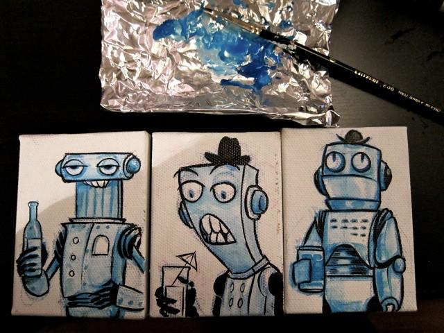 Tiny Robots Drinking