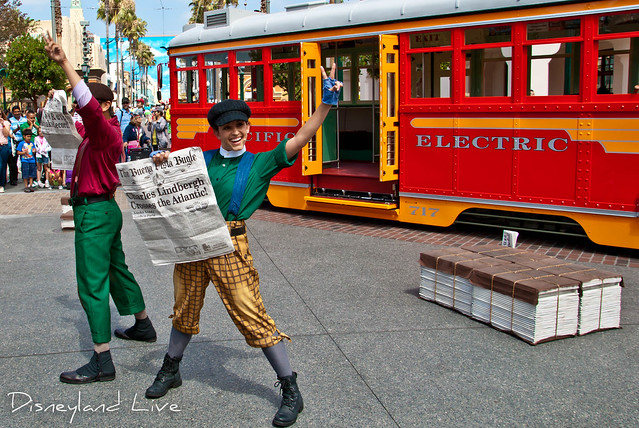 Buena Vista Street - Red Car Trolley News Boys