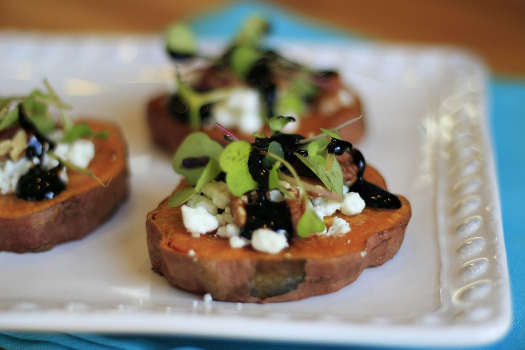 You Should Know: Living Gluten Free: Recipe - Sweet Potato Medallions with Micro Greens, Feta, and Balsamic Glaze