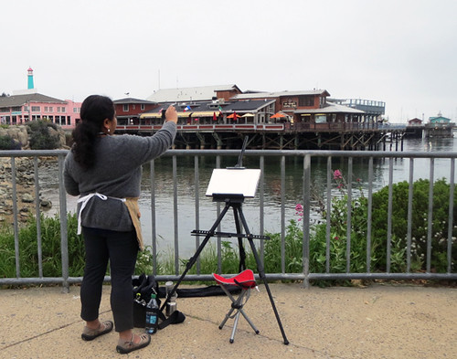 Suma painting at Fisherman's Wharf, Monterey, CA