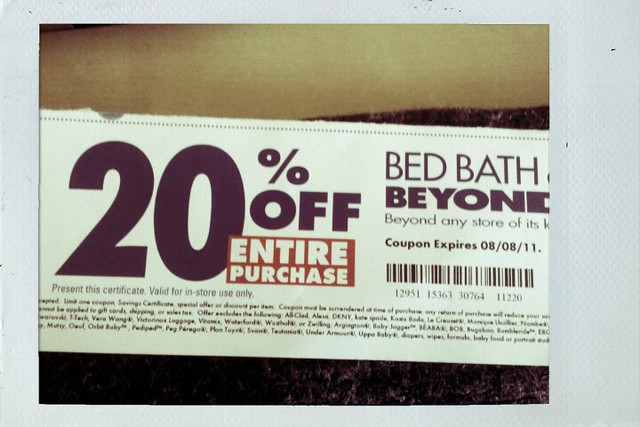 Got a 20% off entire purchase coupon from Bed Bath & Beyond! It's a