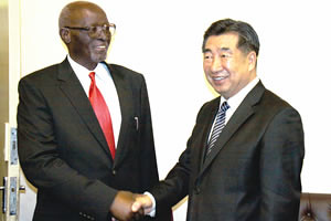 Acting President John Nkomo welcomes Chinese Vice Premier Hui Liangyu to his Munhumutapa offices in Harare yesterday. The two states are deepening their relations. by Pan-African News Wire File Photos