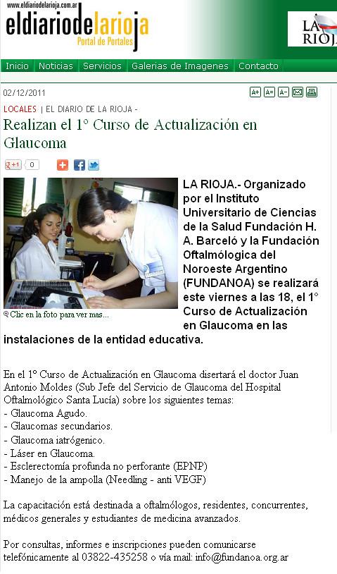 El diario de la Rioja - Curso actualización en Glaucoma  - 02.12.11